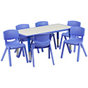Flash Furniture YU-YCY-060-0036-RECT-TBL-BLUE-GG 23.625''W x 47.25''L Adjustable Rectangular Blue Plastic Activity Table Set with 6 School Stack Chairs