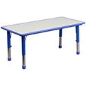 Flash Furniture YU-YCY-060-RECT-TBL-BLUE-GG 23.625''W x 47.25''L Height Adjustable Rectangular Blue Plastic Activity Table with Grey Top