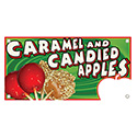 """Berk Concession Supply 8011141 12"""" x 24"""" Caramel / Candy Apples Sign"""