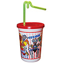 Berk Concession Supply 3052115 12oz Kid's Meal Cup with Lid and Straw, CS of 250/EA