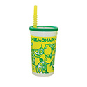 Berk Concession Supply 8021652 16oz Tall Lemonade Cup with Lid and Straw, CS of 500/EA