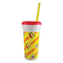 Berk Concession Supply 8021502 32oz Funnel Cake Sleek Cups with Matching Lid and Straw, CS of 300/EA