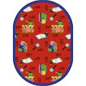 "Joy Carpets 1564DD-03 Bookworm (Spanish) Area Rug, 7'8"" x 10'9"", Oval, Red"
