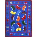 "Joy Carpets 1777C Scattered Books Area Rug, 5'4"" x 7'8"", Rectangular, Multi-Colored"