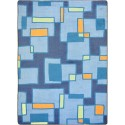 "Joy Carpets 1711C-01 Outside the Box Area Rug, 5'4"" x 7'8"", Rectangular, Cool Blue"