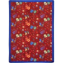 "Joy Carpets 1423G-03 Scribbles Area Rug, 10'9"" x 13'2"", Rectangular, Red"